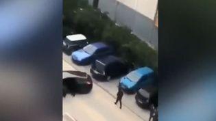 Capture écran de la vidéo sur la fusillade dans la cité de la Busserine à Marseille. (FRANCEINFO)