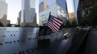 Lemémorial du 11-Septembreavant lacérémoniecommémorant les attaques terroristes contre le World Trade Center qui ont eu lieu il y a 20 ans,le 11 septembre 2021 à New York. (POOL / GETTY IMAGES NORTH AMERICA)