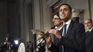 Luigi Di Maio, leader du M5S, lors d'une conférence de presse au Quirinal de Rome, lundi 14 mai 2018. (ANDREAS SOLARO / AFP)