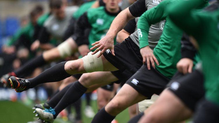 Les joueurs de l'équipe d'Irlande de rugby à l'entraînement, le 6 février, à la veille de leur match contre l'Italie. (GABRIEL BOUYS / AFP)