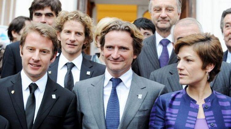 Charles Beigbeder (au centre) et Chantal Jouanno (janvier 2011) (JEAN-PIERRE CLATOT / AFP)
