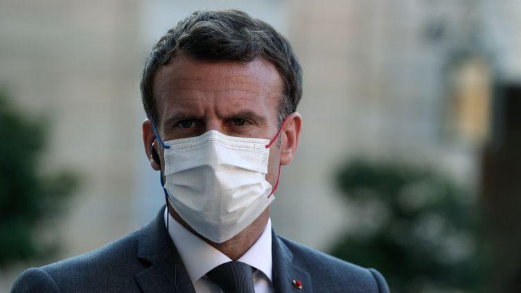 Emmanuel Macron à l'Elysée, le 1er juin 2021. (GEOFFROY VAN DER HASSELT / AFP)