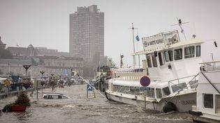 La crue de la Meuse à Liège en Belgique, le 15 juillet 2021. (VALENTIN BIANCHI /AP / SIPA)