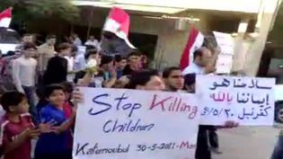 Capture d'image sur YouTube d'une manifestation à Kfar Nabil, en Syrie, le 30 mai 2011. (YouTube / AFP)