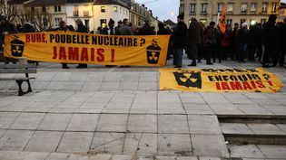 Des manifestantsau projet d'enfouissement des déchets nucléaires à Bure (Meuse), le 22 février 2018. (JEAN-CHRISTOPHE VERHAEGEN / AFP)