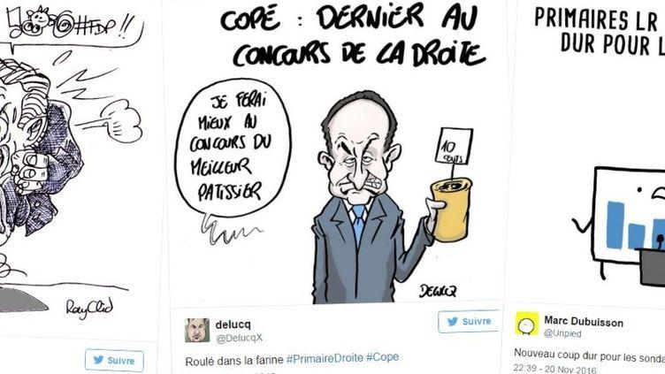 Des dessins de caricaturistes à l'issue du premier tour de la primaire à droite, le 20 novembre 2016. (TWITTER / FRANCEINFO)