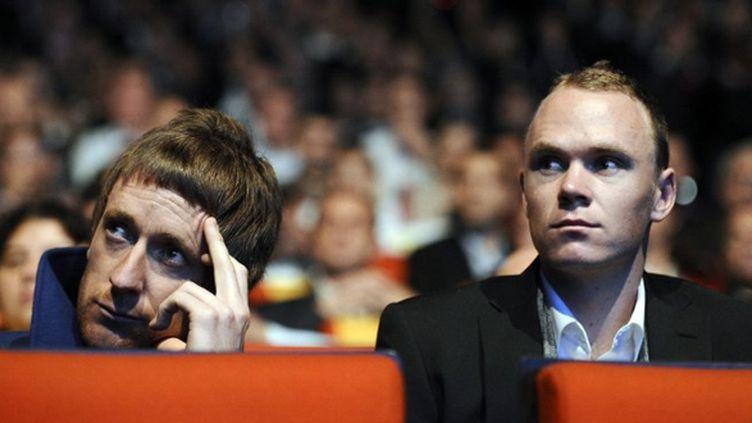 Bradley Wiggins et Christopher Froome (LIONEL BONAVENTURE / AFP)