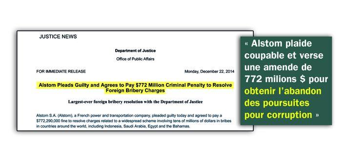 """""""Alstom plaide coupable"""" : extrait du site internet du Département de la justicedes Étast-Unis. (FRANCEINFO)"""