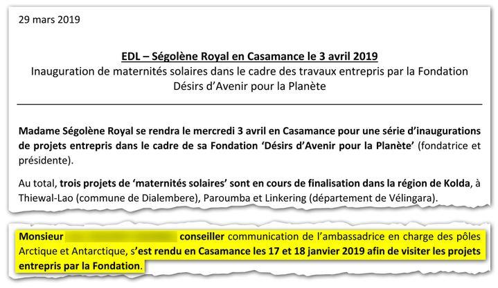 Document de l'ambassade de France au Sénégal sur les projets en Casamance de la fondation de Ségolène Royal. (TOUS DROITS RÉSERVÉS)