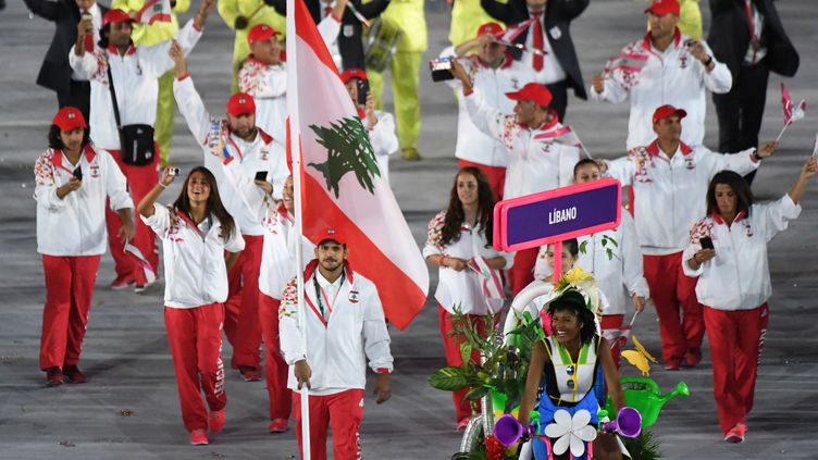 La délégation du Liban lors de la cérémonie d'ouverture (PEDRO UGARTE / AFP)