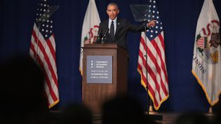 L'ancien président des Etats-Unis lors d'un discours dans l'Illinois, à Urbana, le 7 septembre 2018. (SCOTT OLSON / GETTY IMAGES NORTH AMERICA)