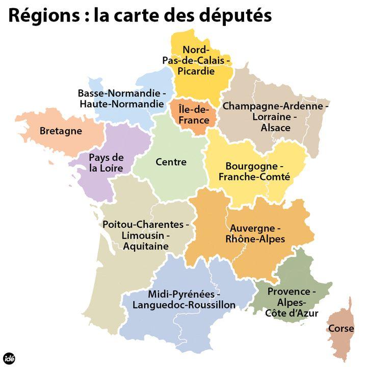 (La carte des 13 régions votée à l'Assemblée nationale © Idé)