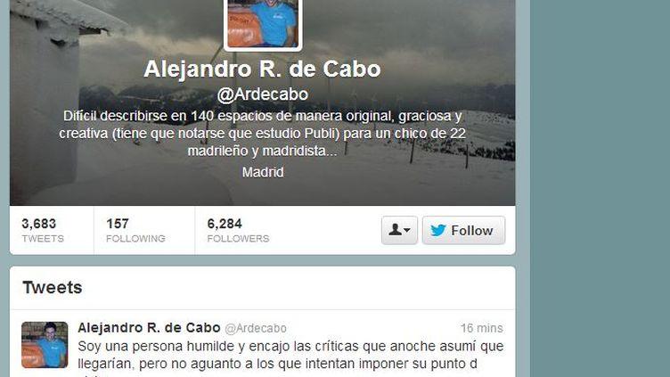 Capture d'écran de la page de profil Twitter d'Alejandro de Cabo, réalisée le 14 mars 2013. ( FRANCETV INFO)