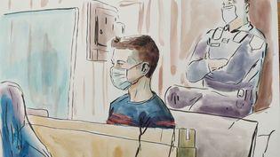 Jonathann Daval au premier jour de son procès devant la cour d'assises de la Haute-Saône, à Vesoul, le 16 novembre 2020. (VALENTIN PASQUIER / FRANCE TELEVISIONS)