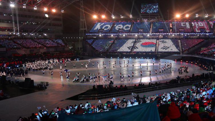 PyeongChang, le 9 mars 2018, cérémonie d'ouverture des Jeux paralympiques d'hiver à l'Olympic Stadium. (VLADIMIR SMIRNOV / TASS /GETTY IMAGES)