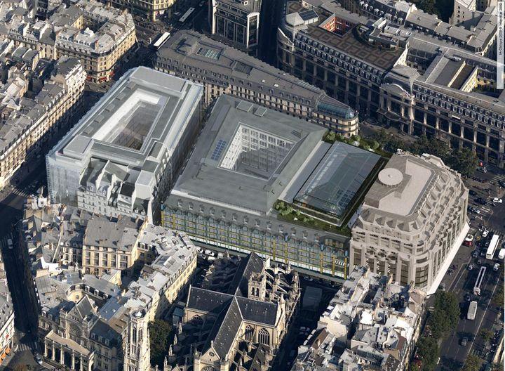 Vue aérienne de La Samaritaine à Paris, juin 2021 (Cyrille Thomas)