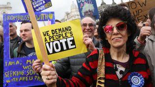 Les manifestants comptent faire pression pour un deuxième référendum sur le Brexit. (ISABEL INFANTES / AFP)