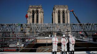 Le chantier de Notre-Dame de Paris, le 15 avril 2021. (BENOIT TESSIER / POOL / AFP)