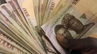Billets de banque en naira, la monnaie nigériane. Le Nigeria est le premier pays africain à créer une monnaie numérique l'eNaira, qui sera lancée le 4 octobre 2021. (PIUS UTOMI EKPEI / AFP)