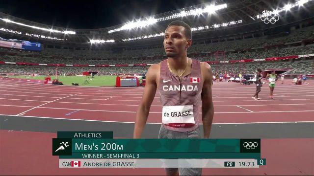 """19""""73, record du Canada, pour Andre De Grasse dans la dernière demi-finale du 200 m !Le médaillé de bronze du 100 m fera partie des favoris lors de la finale prévue demain à 14h55."""