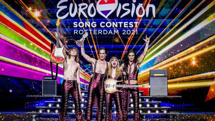 "Rotterdam, le 23 mai 2021 : le groupe italienManeskin remporte le concours de l'Eurovision 2021 avec la chanson ""Zitti e Buoni"". (SANDER KONING / ANP MAG)"