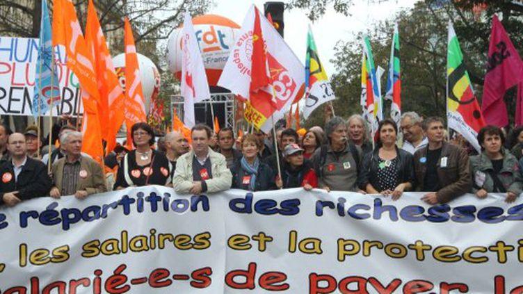 Manifestation à Paris le 11 octobre 2011, contre les mesures d'austérité du gouvernement. (PIERRE VERDY / AFP)
