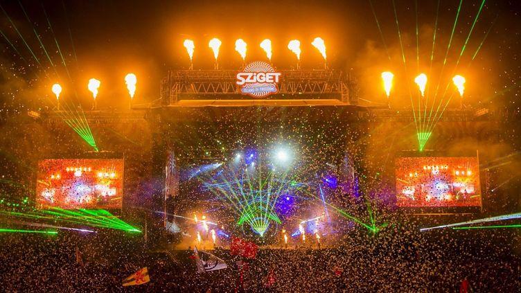 Le show de David Guetta, dimanche soir au Sziget Festival  (BALAZS MOHAI/EPA/MAXPPP)