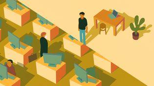 Le télétravail est loin d'être généralisé dans les entreprises qui en auraient pourtant la possibilité. (JESSICA KOMGUEN / FRANCEINFO)