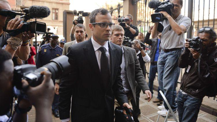 Oscar Pistorius arriveau tribunal de Pretoria (Afrique du Sud), le 7 août 2014. (GALLO IMAGES / REX / SIPA)