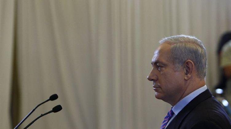Le Premier ministre israélien, Benjamin Netanyahu devant la Commission le 09/08/10 (AFP Ronen Zvulun)