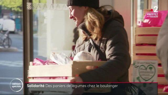 Solidarité : des paniers de légumes chez le boulanger