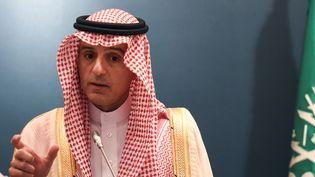 Le ministre saoudien des Affaires étrangères, Adel al-Jubeir, le 29 avril 2018 à Ryad (Arabie Saoudite). (FAYEZ NURELDINE / AFP)