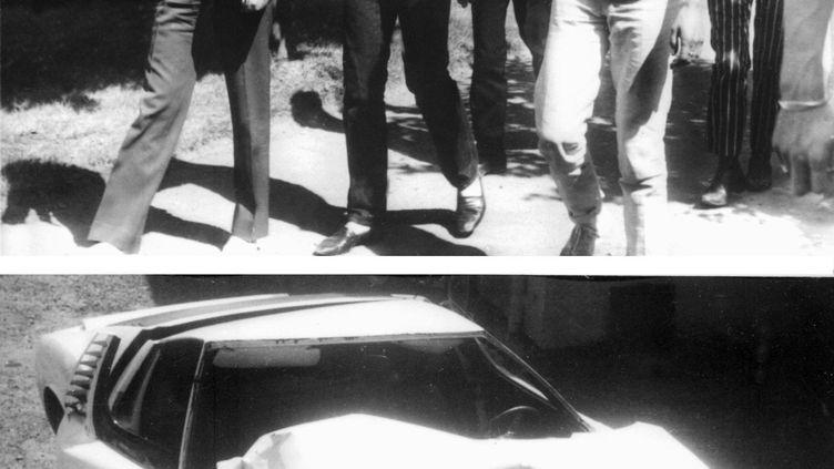 Johnny Hallyday et Jacques Dutronc le 29 août 1967 à Tarbes (Haute-Pyrénées). (AFP)