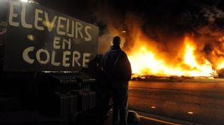 Un agriculteur regarde des pneus brûler durant une manifestation d'éleveurs en colère à Saint-Brieuc (Côtes-d'Armor), le 2 juillet 2015. (FRED TANNEAU / AFP)