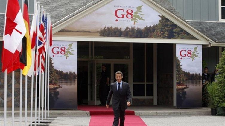 Nicolas Sarkozy arrivant au sommet du G8 à Huntsville (Canada) (AFP - Pool - Christophe Ena)