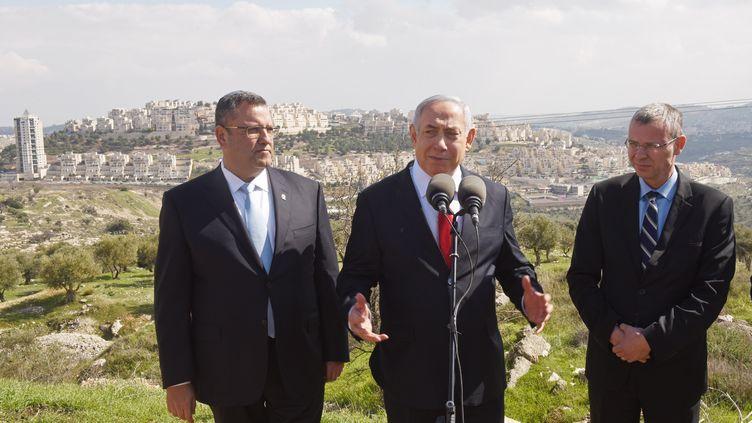 Le Premier ministre israélien,Benyamin Nétanyahou, annonce sonprojetdeconstruction de milliers de nouveaux logements dans des quartiers de colonisation à Jérusalem-Est, secteur palestinien de la ville, le 20 février 2020. (DEBBIE HILL / POOL / AFP)