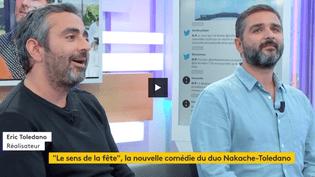 Olivier Nakache et Eric Toledano sont les invités de Louis Laforge lors du 18/20, mardi 3 octobre. (FRANCEINFO)