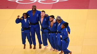 L'équipe de France de Judo sacrée face au Japon à Tokyo, le 31 juillet 2021. (MILLEREAU PHILIPPE / KMSP)