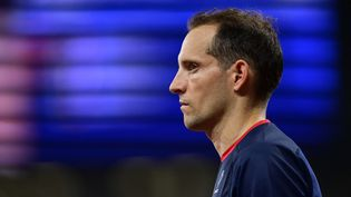 Renaud Lavillenie lors de l'épreuve du saut à la perche lors des Jeux olympiques de Tokyo, le 3 août 2021. (CURUTCHET VINCENT / KMSP / AFP)