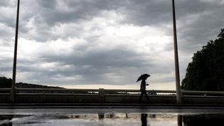 Un passant marche sous la pluie, le 10 juin 2014 à Lyon (Rhône). (JEFF PACHOUD / AFP)