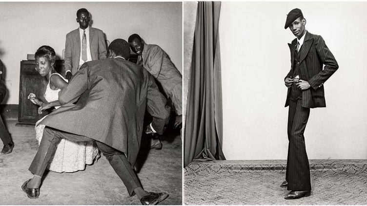 """Malick Sidibé, A gauche """"Danser le twist, 1965"""", Collection Fondation Cartier pour l'art contemporain, Paris - A droite """"Un gentleman en position"""", 1980 Tirage gélatino-argentique signé, 2013, Courtesy Galerie MAGNIN-A, Paris  (Malick Sidibé)"""