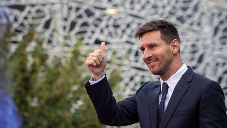Le joueur de football Lionel Messi au Parc des Princes à Paris le 11 août 2021. (CARINE SCHMITT / HANS LUCAS / AFP)
