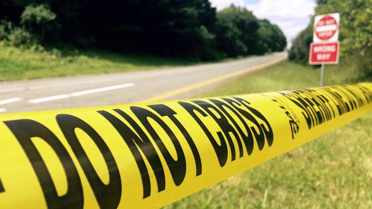 La zone oùl'homme suspecté d'avoir abattu deux journalistes en plein direct a été arrêté par la police, mercredi 26 août 2015 à Markham, en Virginie (Etats-Unis). (ROBERT MACPHERSON / AFP)