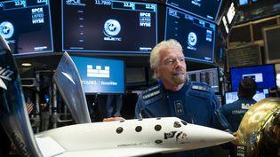 Richard Branson, fondateur de Virgin Galactic,au New York Stock Exchange, le 28 octobre 2019. (JOHANNES EISELE / AFP)