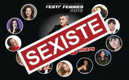 """L'affiche du spectacle de Jean-Marie Bigard au festival Festi'femmes à Marseille, sur laquelle l'association Osez le féminisme a tamponné : """"Sexiste"""". (Festi'femmes / Osez le féminisme)"""