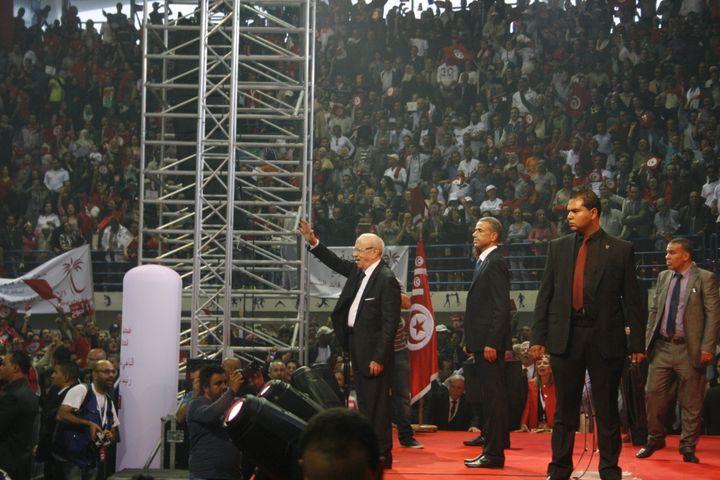 Le candidat Béji Caïd Essebsi lors d'un grand meeting à Tunis, le 15 novembre 2014. (GAEL COGNE / FRANCETV INFO)
