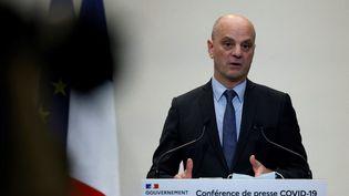 Le ministre de l'Education nationale, Jean-Michel Blanquer, lors d'une conférence de presse, à Paris, le 14 janvier 2021. (THOMAS COEX / AFP)