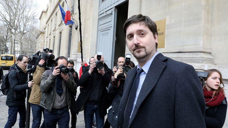 Laurent Brun, le secrétaire général de la CGT Cheminots à Paris, le 5 avril 2018. (LUDOVIC MARIN / AFP)