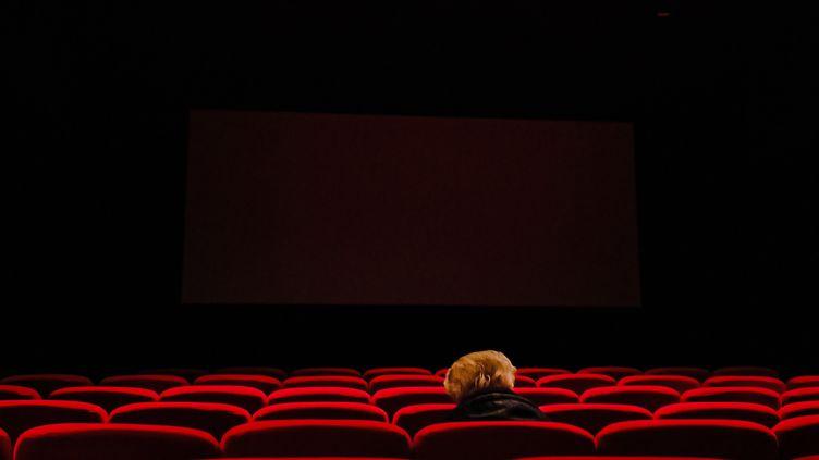 Une personne seule dans un cinéma parisien. (LILIAN CAZABET / HANS LUCAS)