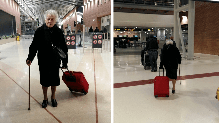 Malgré sa canneet son âge, 93 ans, cette Italienne n'a pas hésité à décoller pour le Kenya, dans le cadre d'une mission humanitaire. (ELISA COLTRO / FACEBOOK)